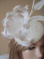 Cream Ivory Curled Goose Nagoire Feathers Crystal Button Headpiece Fascinator Bridal. Ivory Fascinator. Bridal Fascinators